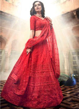 Soft Net Red Lehenga Choli For Wedding