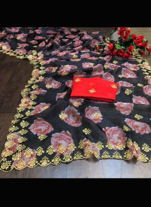 Soft Organza Black Embroidery Saree