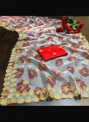 Soft Organza Embroidery White Saree
