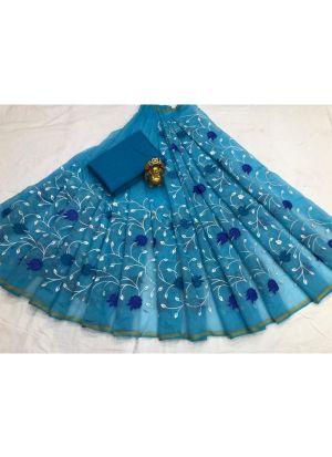 South Cotton Sky Blue Designer Traditional Saree