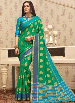 South Indian Wedding Cotton Handloom Parrot Saree