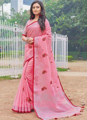 South Indian Wedding Linen Cotton Light Baby Pink Saree