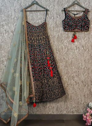 Sparkling Black Taffeta Silk Embroidered Lehenga Choli