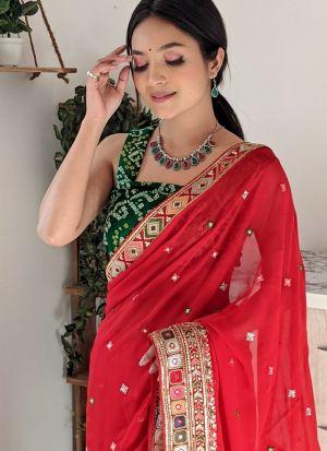 Sparkling Red Mirror Work Saree