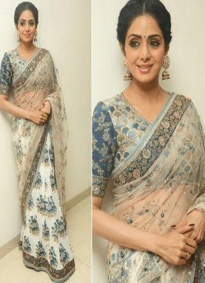 Sridevi Bollywood Repilca Off White Naylon Mono Net Designer Saree