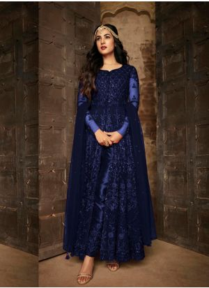 Staring Heavy Net Anarkali Suit With Beautiful Coding Work