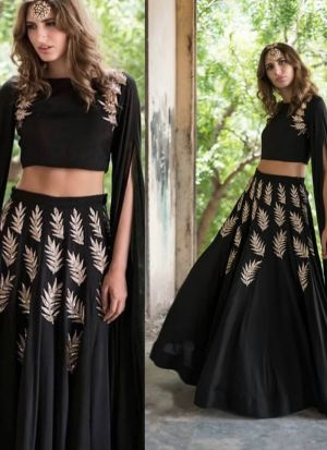 Stunning Black Georgette Zari Embroidered Lehenga Choli