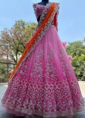 Stunning Light Pink Colour Contarsting Duppata Naylon Mono Net Lehenga Choli