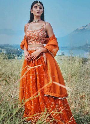 Stunning Orange Embroidered Traditional Lehenga Choli