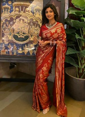 Stunning Red Foil Printed Dola Silk Bollywood Saree
