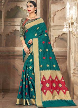 Stunning Teal Green Cotton Handloom Designer Saree