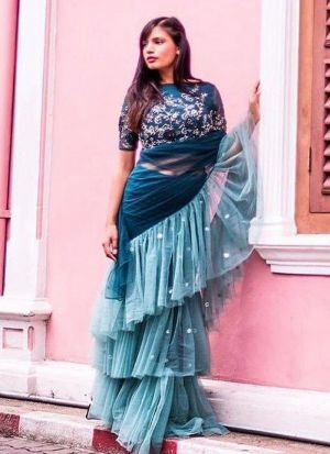 Stunning Thread Embroidered Teal Net Ruffle Stylish Saree