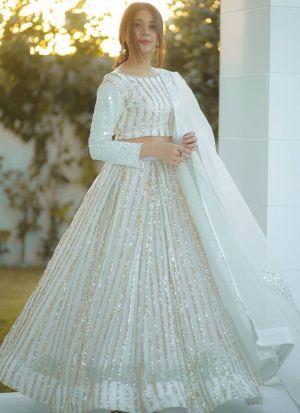 Stunning White Georgette Lehenga Choli