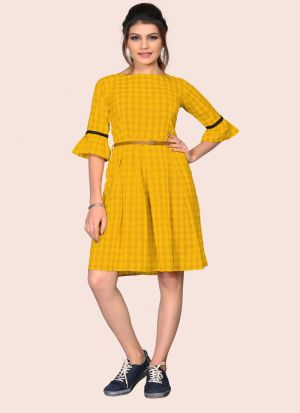 Stunning Yellow Colour Flaired South Chex Cotton Western Dress