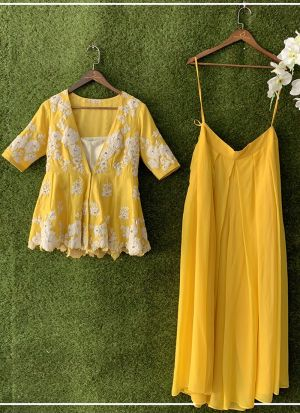 Stunning Yellow Party Wear Palazzo Suit