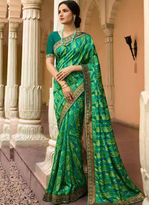 Stylish Aqua Green Kanjivaram Silk Printed Saree