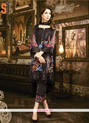 Stylish Black Embroidered Foux Georgette Designer Salwar Suit