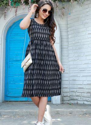 Stylish Black Rayon Printed Kurti