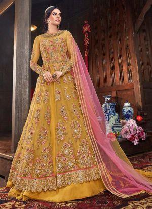 Stylish Heavy Embroidered Vaishnavi Net Anarkali Suit