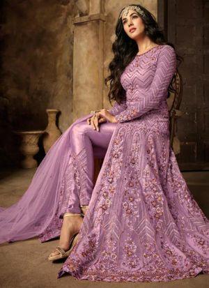 Stylish Heavy Net Embroidered Slit Anarkali Salwar Suit