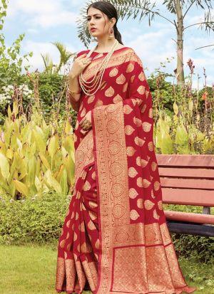 Stylish Look Cotton Handloom Maroon Indian Wear Saree