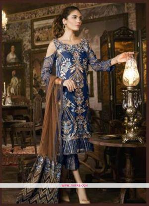 Stylish Navy Embroidered Foux Georgette Designer Salwar Suit