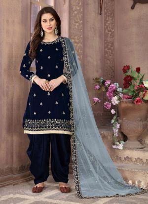 Stylish Navy Velvet Embroidered Salwar Suit
