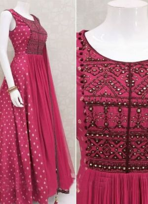 Stylish Rani Pink Italian Silk Digital Printed Gown