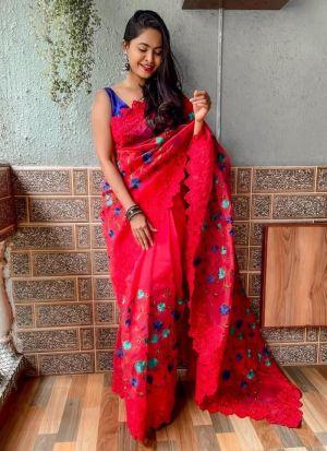 Stylish Red Thread Work Saree