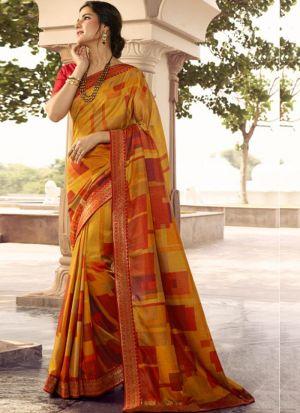 Stylish Yellow Kanjivaram Silk Printed Saree