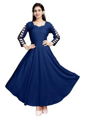 Stylish Womens Pure Heavy Rayon Blue Kurti