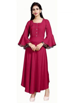 Stylish Womens Pure Heavy Rayon Pink Kurti