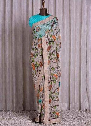 Superb Printed Cream Color Saree