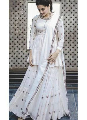 Taapsee Pannu White Embroidered Palazzo Style Suit