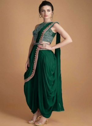 Taffeta Silk Dark Green Dhoti Suit