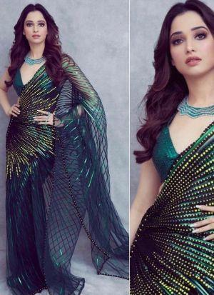 Tamannaah Peacock Green Printed Saree