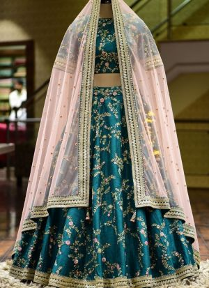 Teal Banglori Satin Embroidery Lehenga