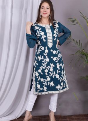 Teal Blue Embroidery Work For Women