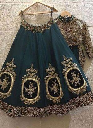Teal Blue Heavy Banglori Party Wear Lehenga