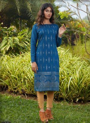 Teal Blue Silky Cotton Long Sleeves Kurti