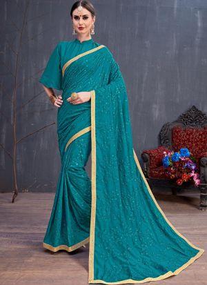 Teal Blue Soft Cotton Resham Embroidery Party Wear Designer Saree