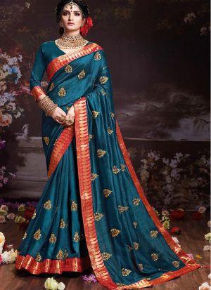 Teal Blue Vichitra Silk Festive Wear Saree With Lace Jequard Work