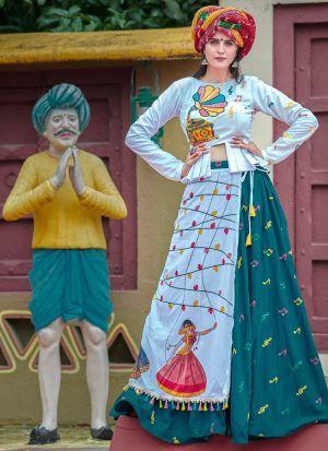 Teal Green Color Traditional Chaniya Choli For Navratri