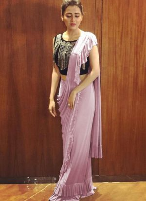 Tejasswi Prakash Pink Georgette Saree