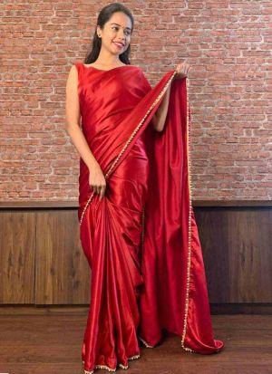 Tempting Red Satin Moti Work Saree