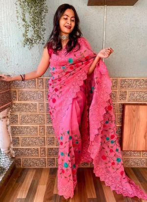 Thread Work Organza Saree In Pink