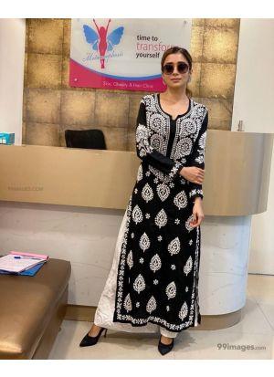Tina Datta Black Cotton Salwar Suit