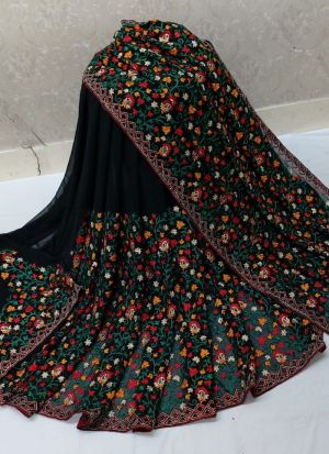 Traditional Black Embroidered Saree