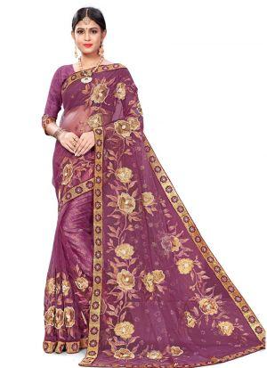 Traditional Light Purple Wedding Bemberg Saree