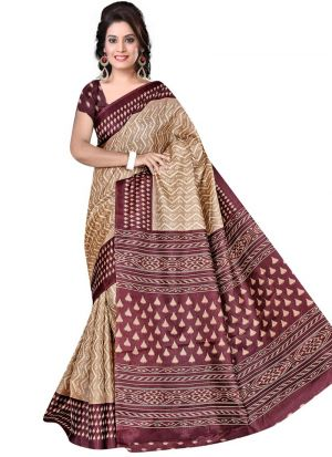 Traditional Multi Color Printed Rice Silk Saree